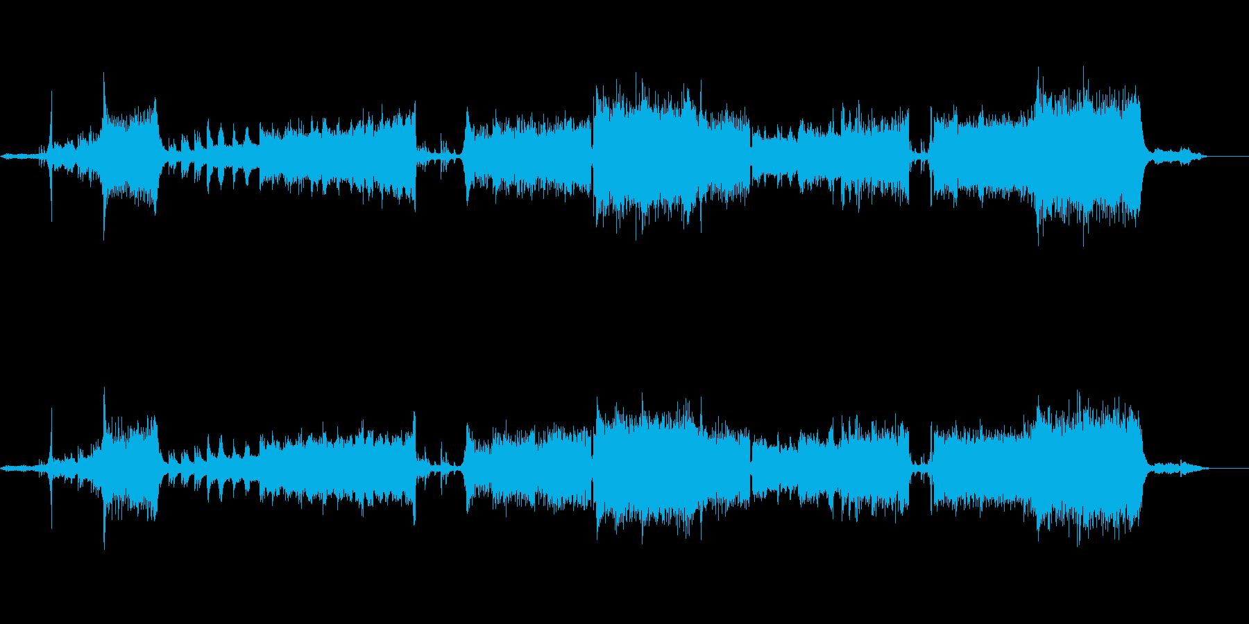 シンセとオーケストラのダークな楽曲の再生済みの波形