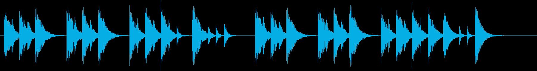 木琴で作ったコミカルで短いジングルの再生済みの波形