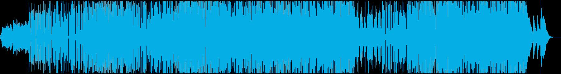 ミッドテンポのステディなリズムのテクノの再生済みの波形