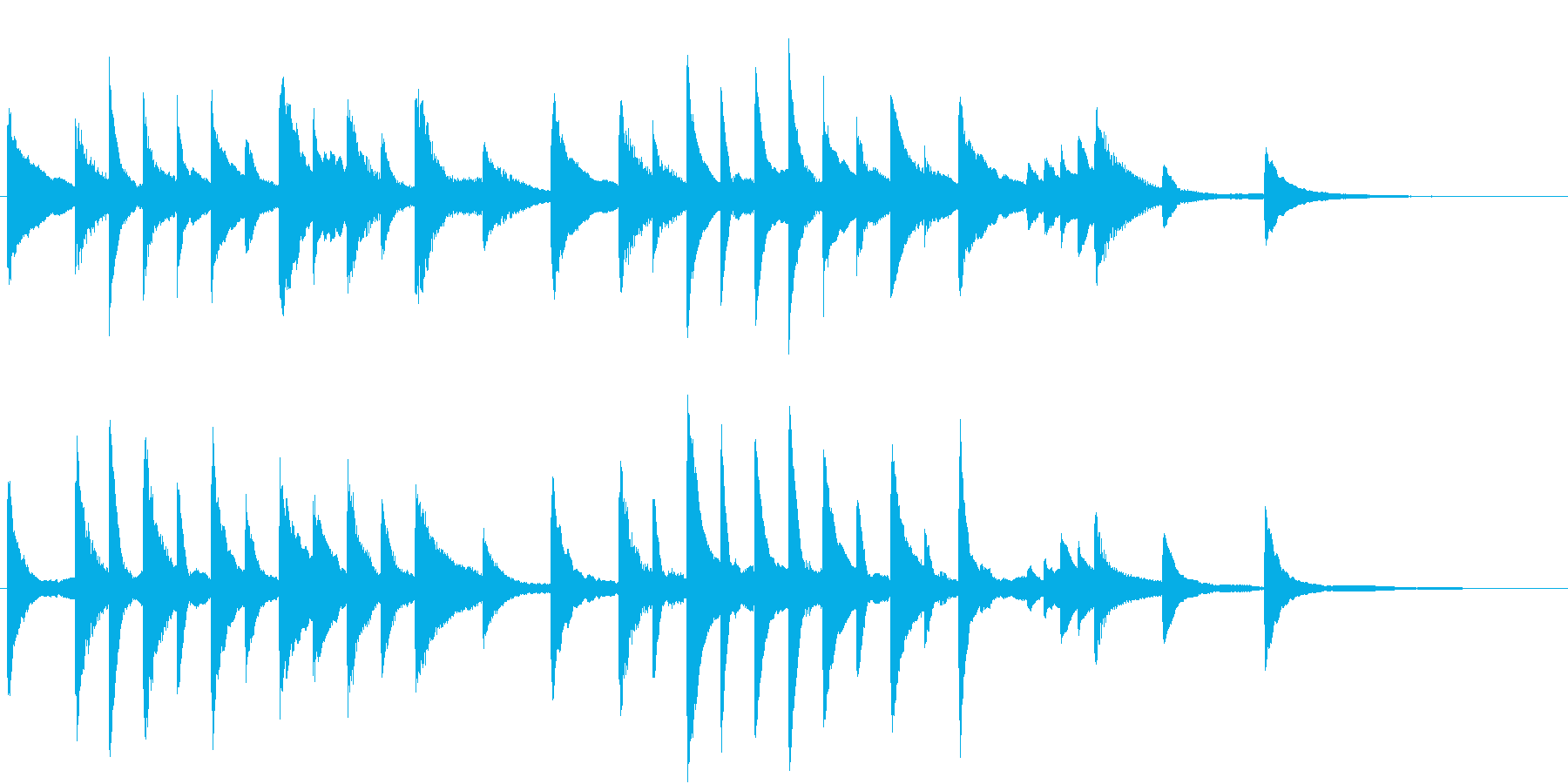 童謡・夕焼小焼モチーフのピアノジングルAの再生済みの波形