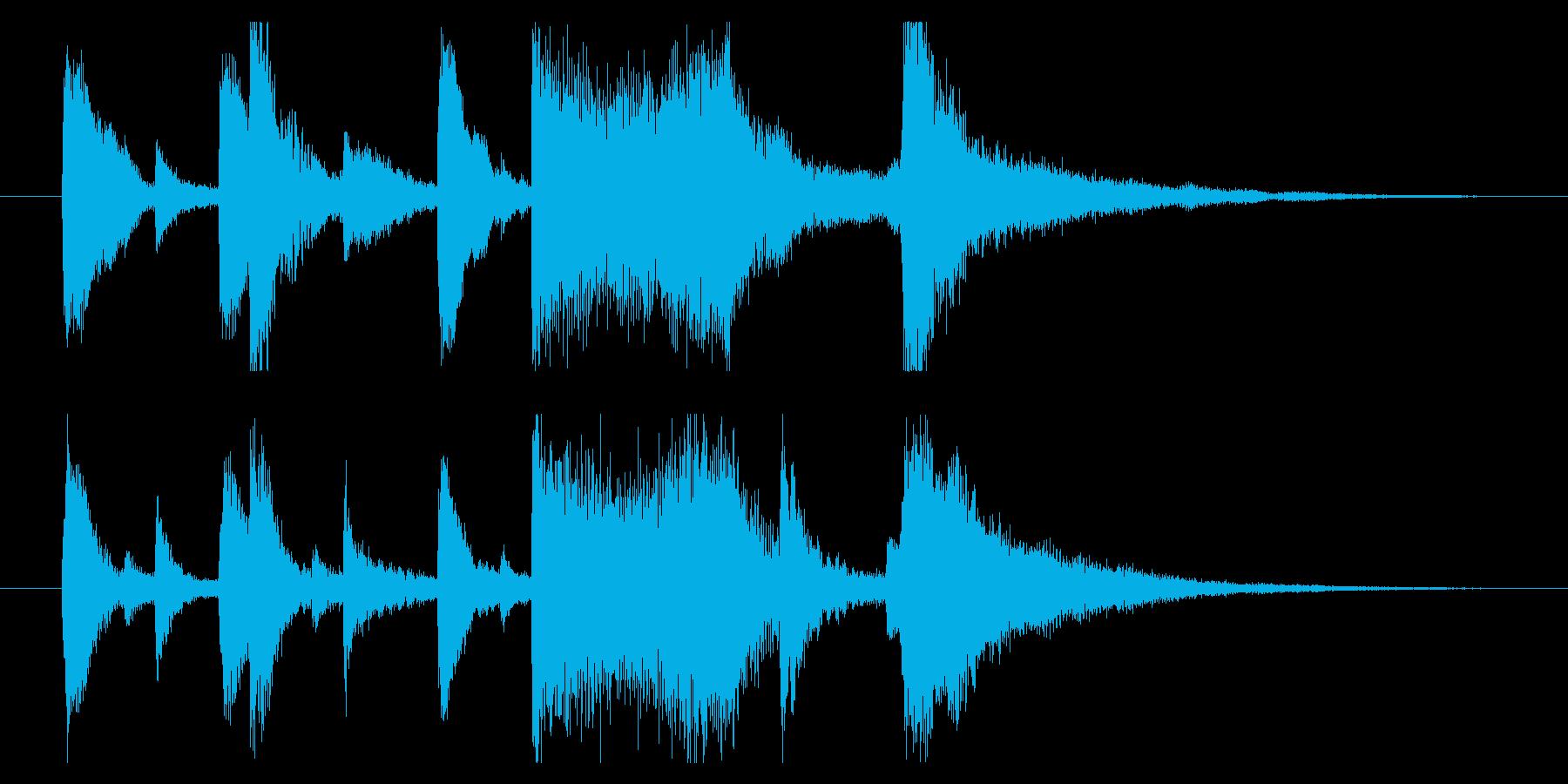 ピアノと琴の軽妙な和風ジングルの再生済みの波形