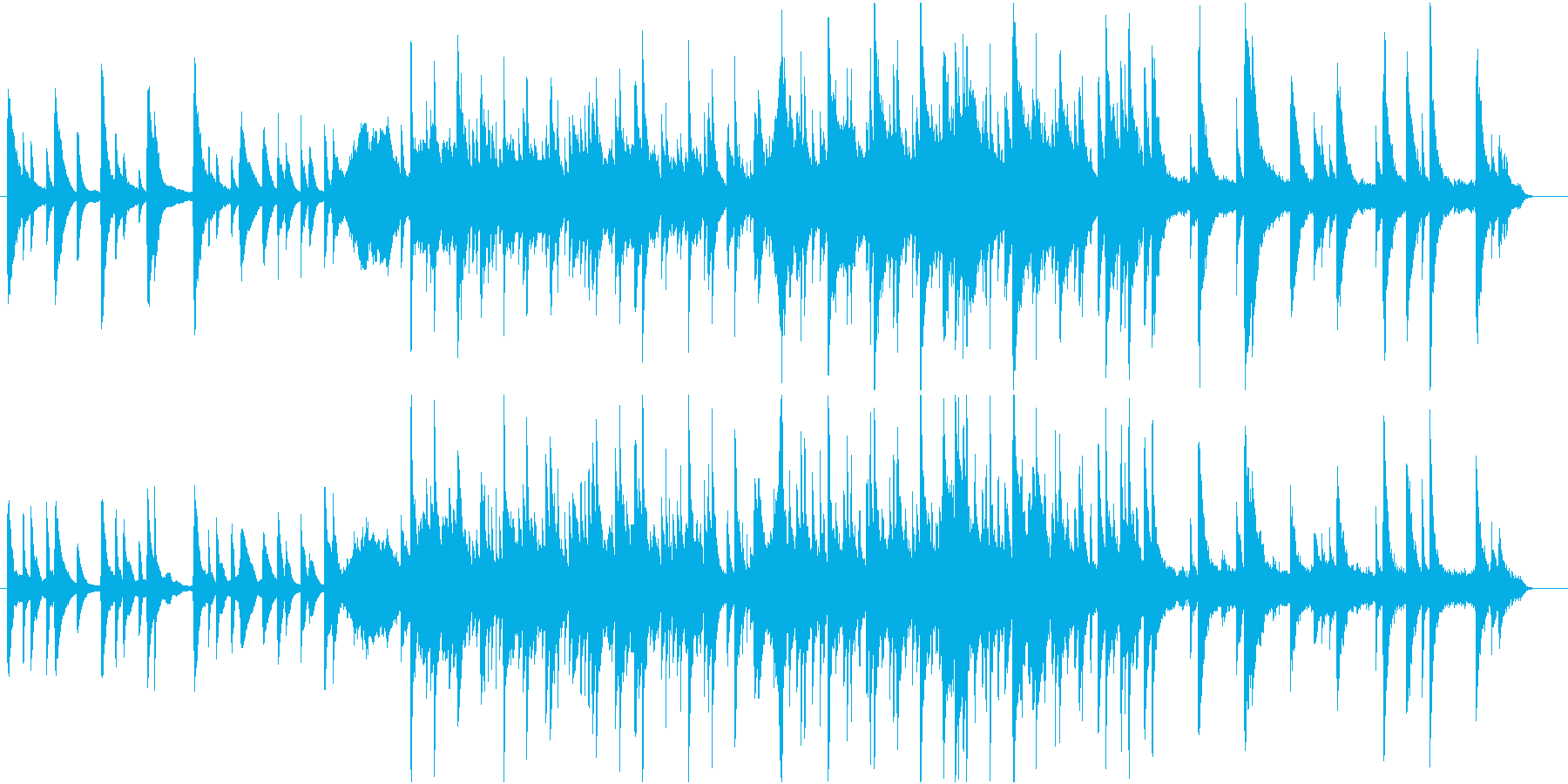 ピアノを主とした浮遊感のあるBGMの再生済みの波形