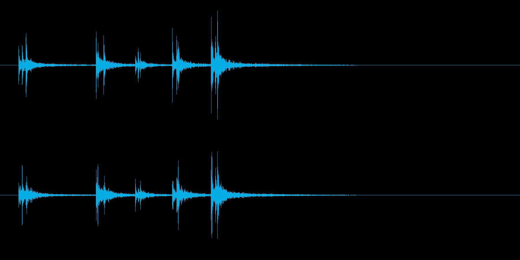 軽快スティック同士を叩くフレーズ音+FXの再生済みの波形