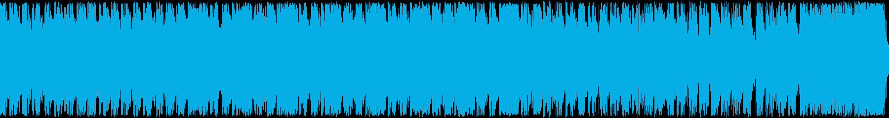 ドラム、シンセの緊迫感バトル、ループの再生済みの波形