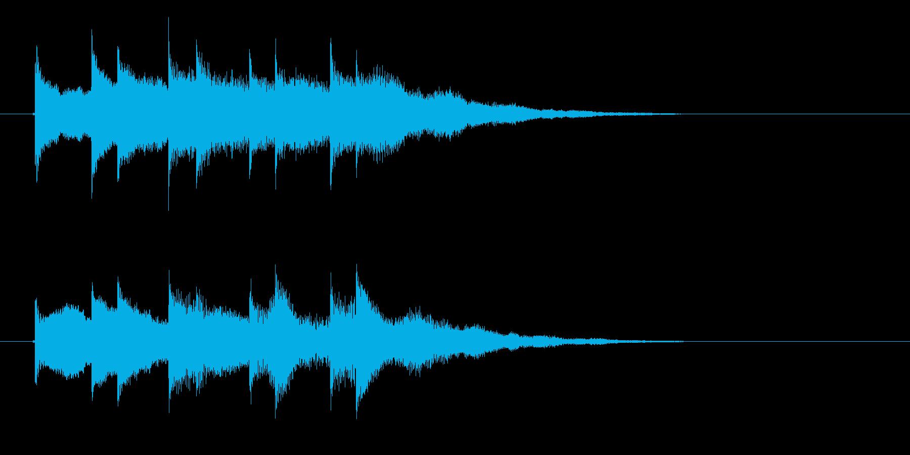 キラキラした金属音が音階を奏でる効果音の再生済みの波形