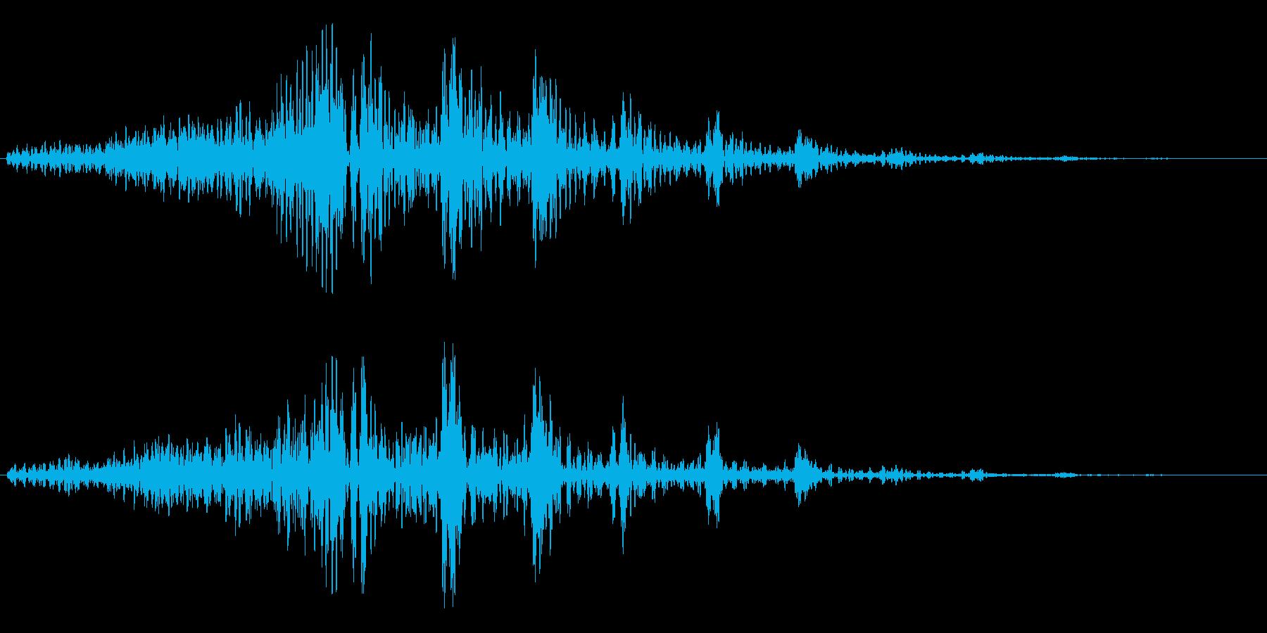重みのあるシンセサイザーのループ曲の再生済みの波形