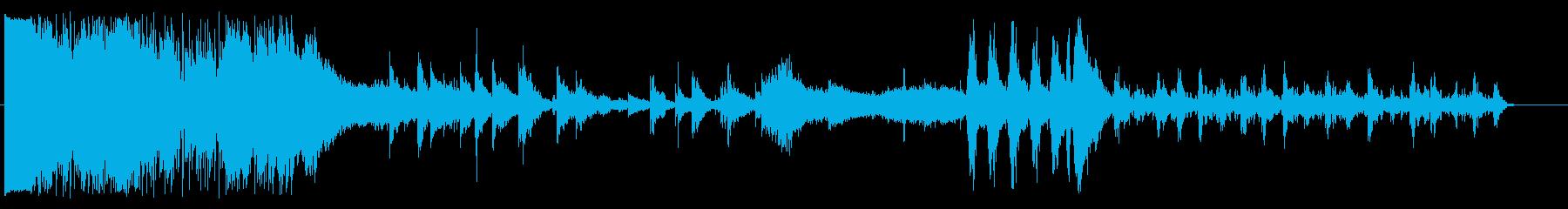 前半激しく、後半静かなホラー系BGMの再生済みの波形