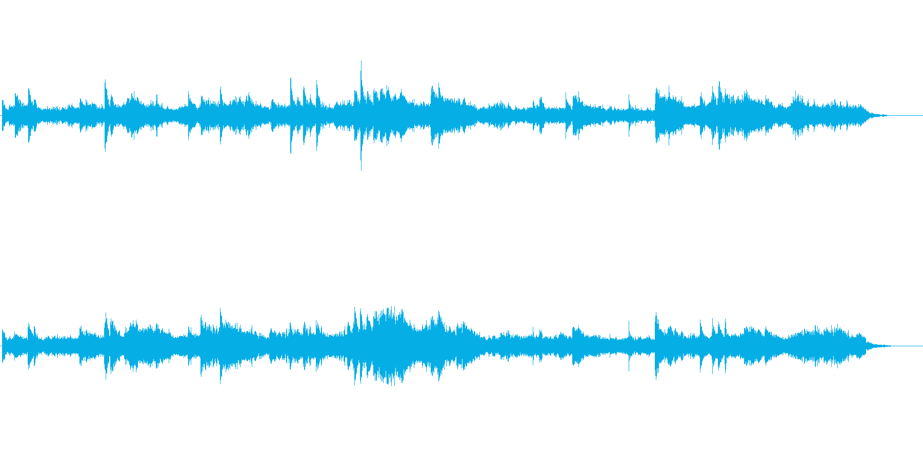 深海や宇宙の神秘的な浮遊感のあるBGMの再生済みの波形