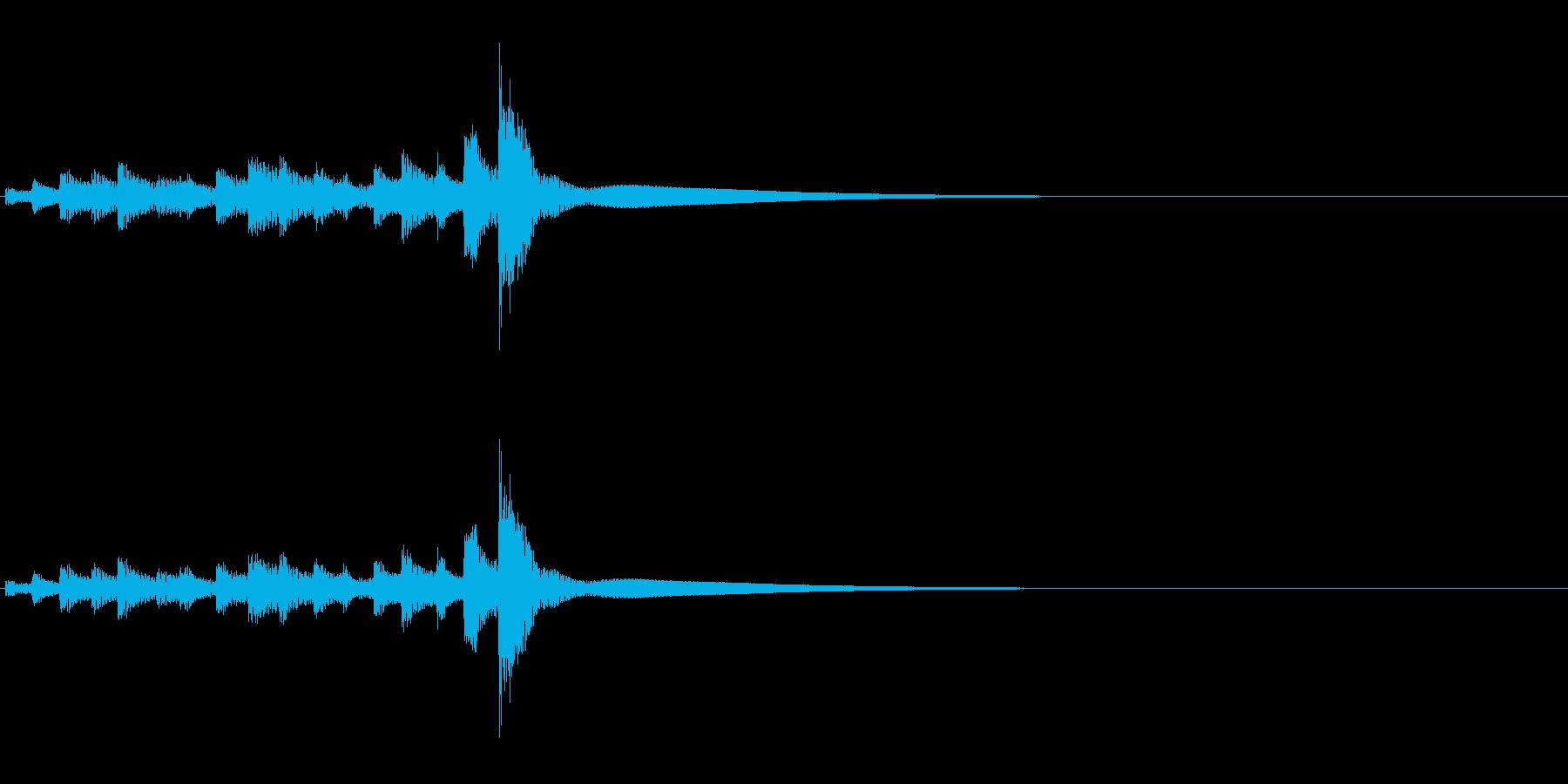 うちわ太皷の連打のフレーズ音の再生済みの波形