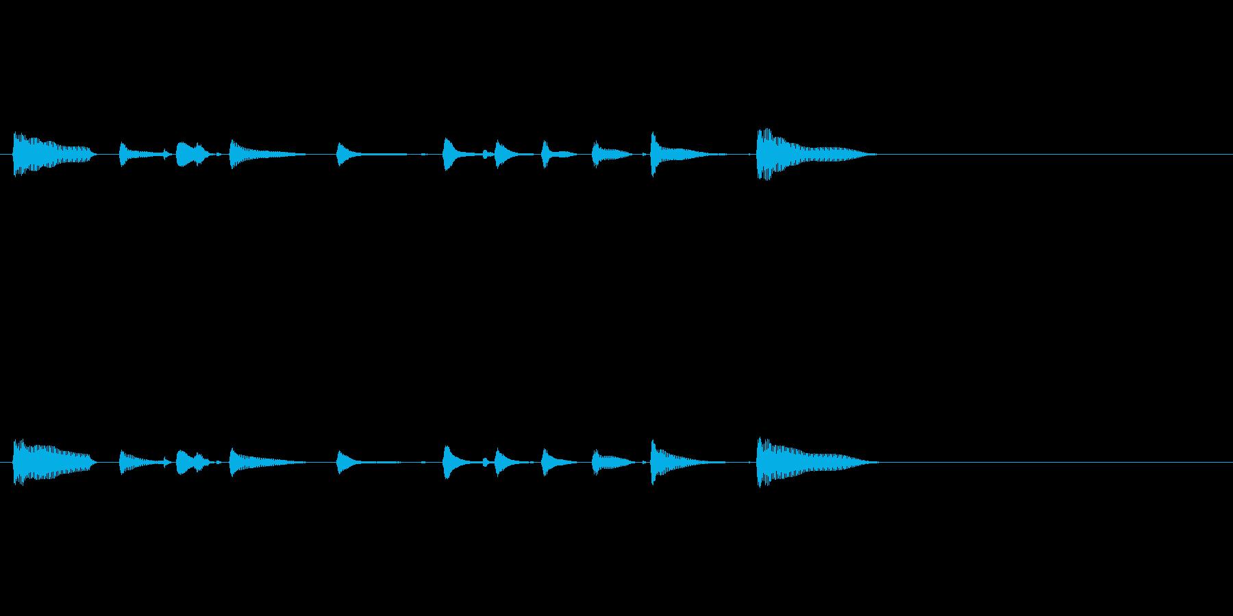 短い三味線のフレーズの再生済みの波形