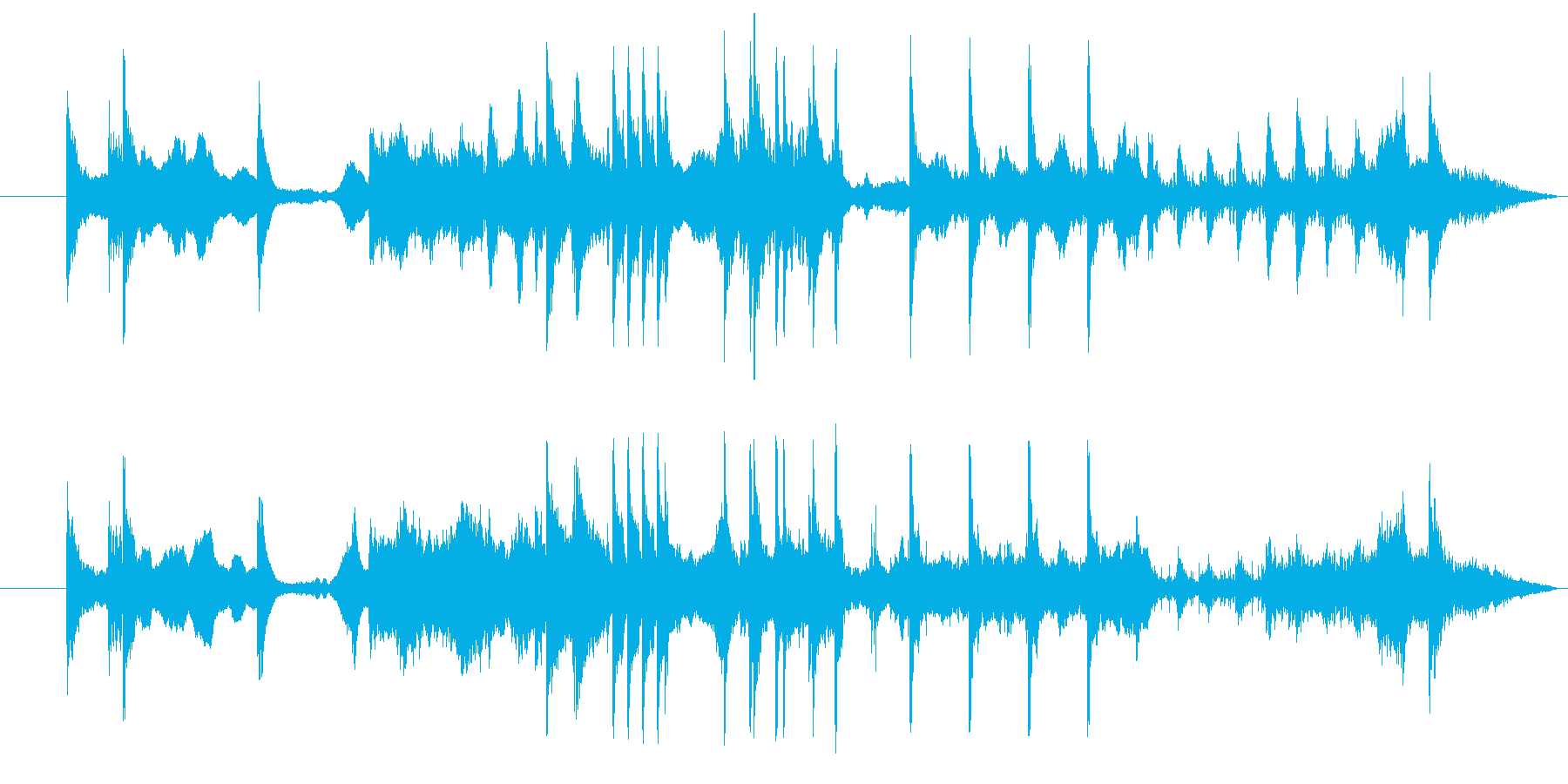 クライマックスの壮大なオーケストラの再生済みの波形
