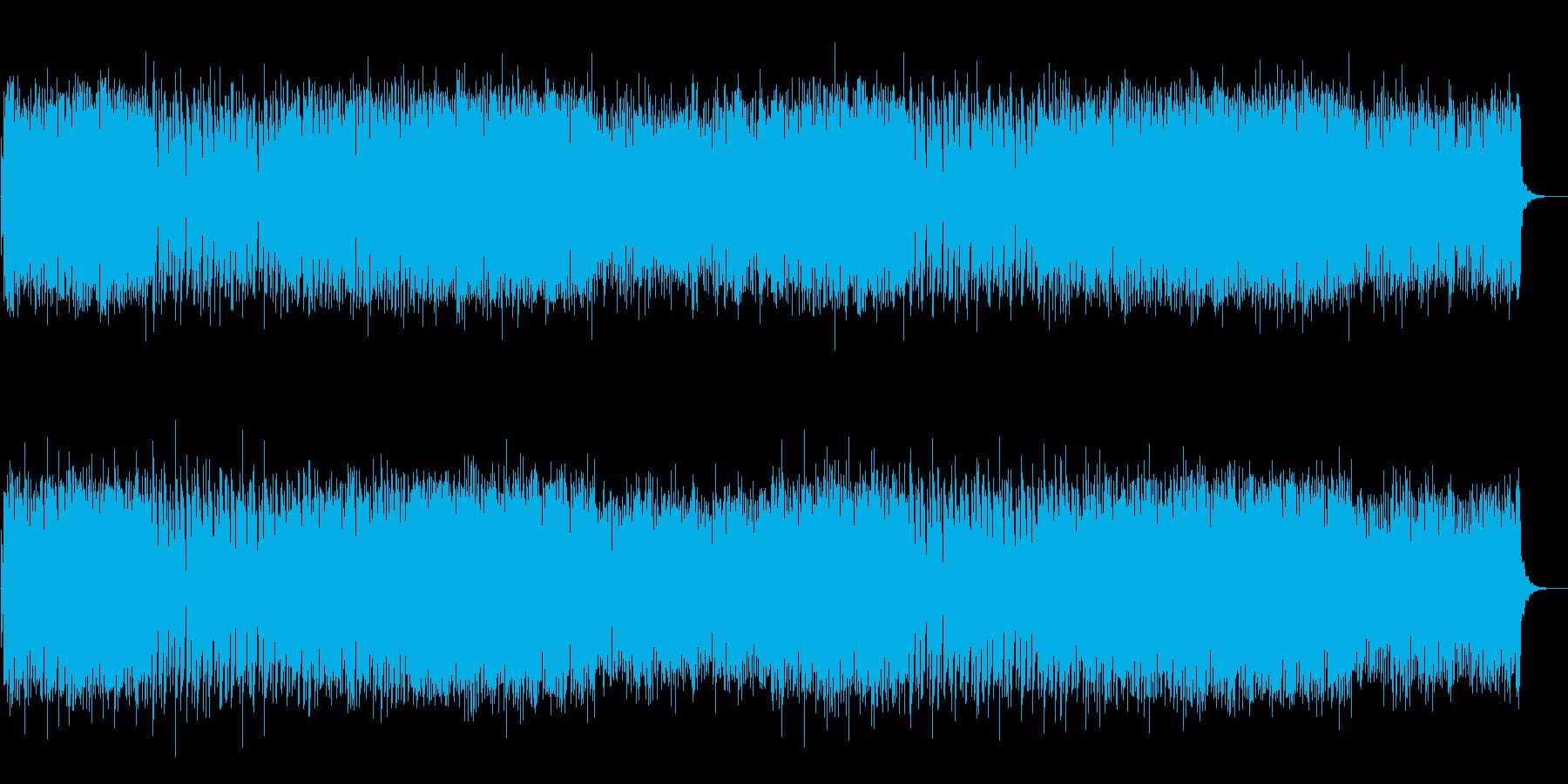 テンポのいい篠笛と4つ打ちの楽曲の再生済みの波形