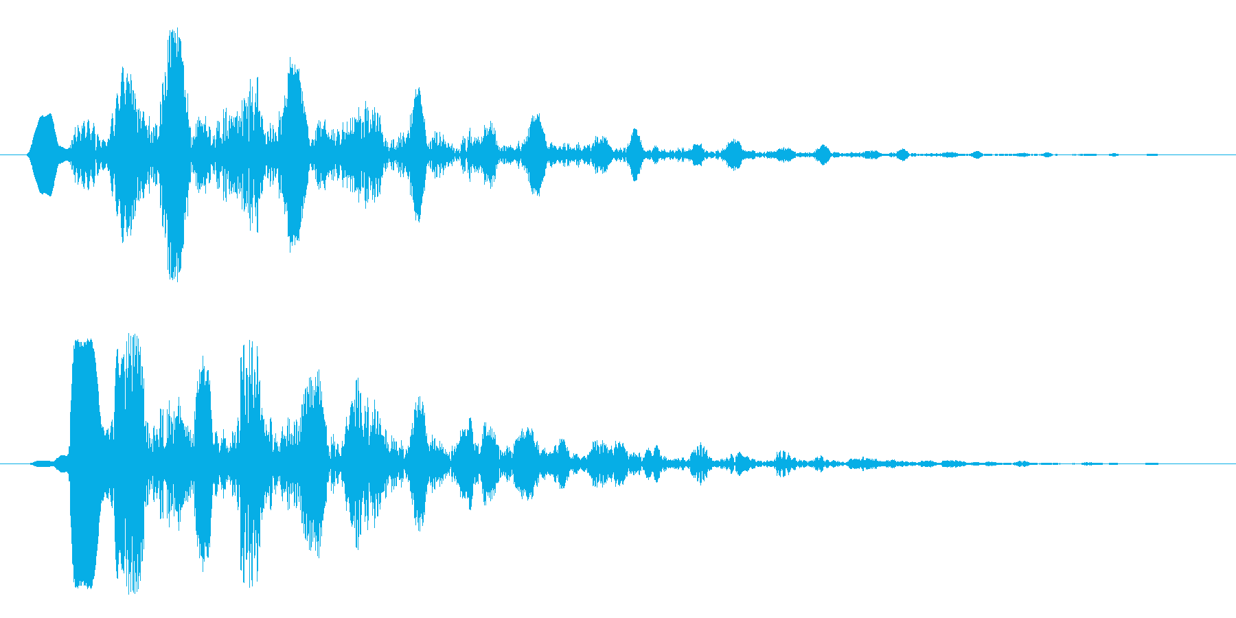綺麗な水音、悩んでいる感じの音の再生済みの波形