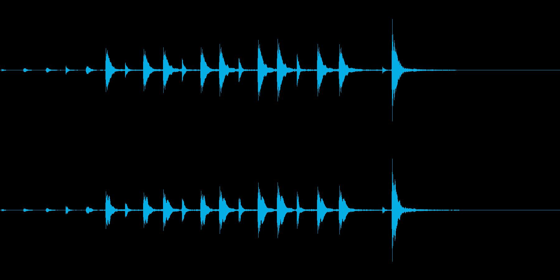 能や歌舞伎の小鼓のフレーズ音+FXの再生済みの波形