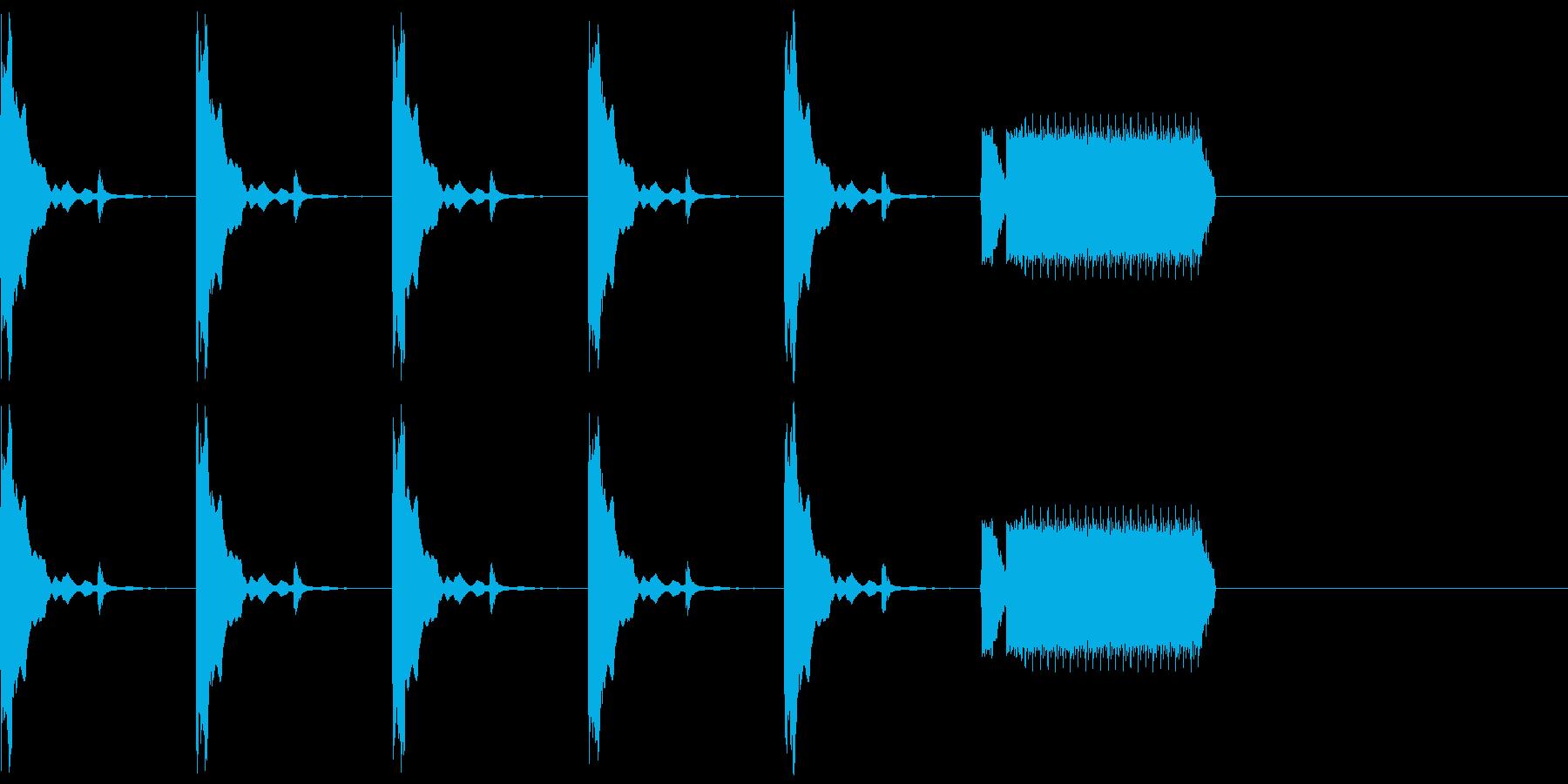 カウントダウン5秒チクタク+ホイッスルの再生済みの波形