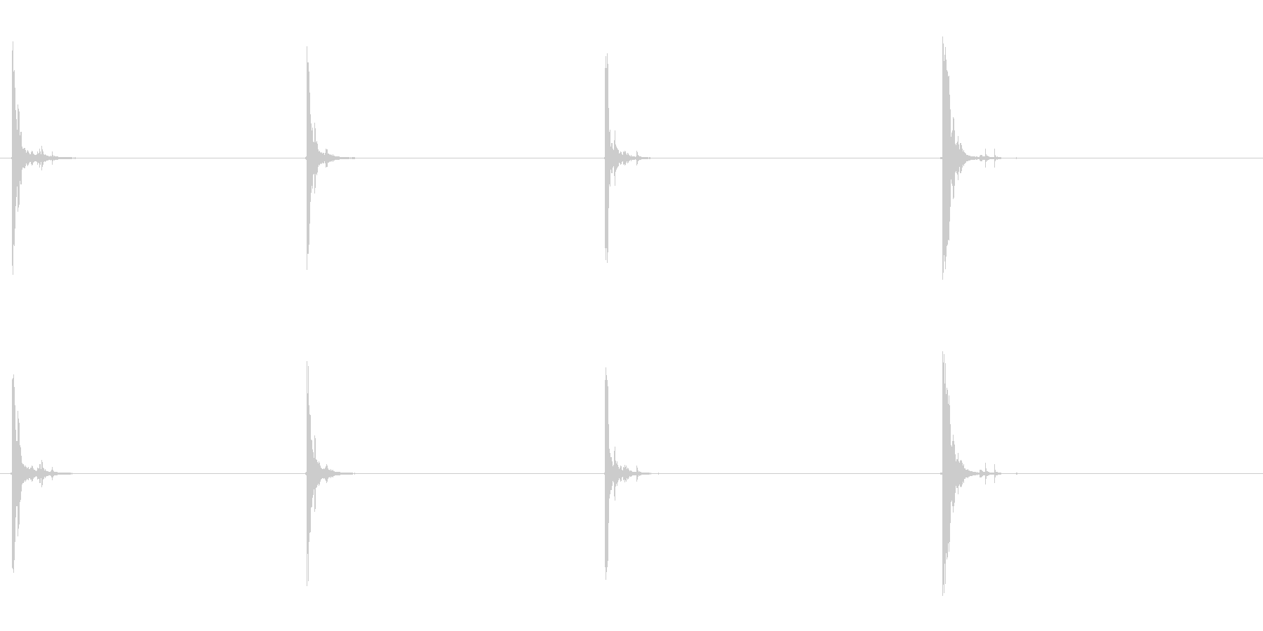 カシャン…グレーチングの上を歩く音の未再生の波形