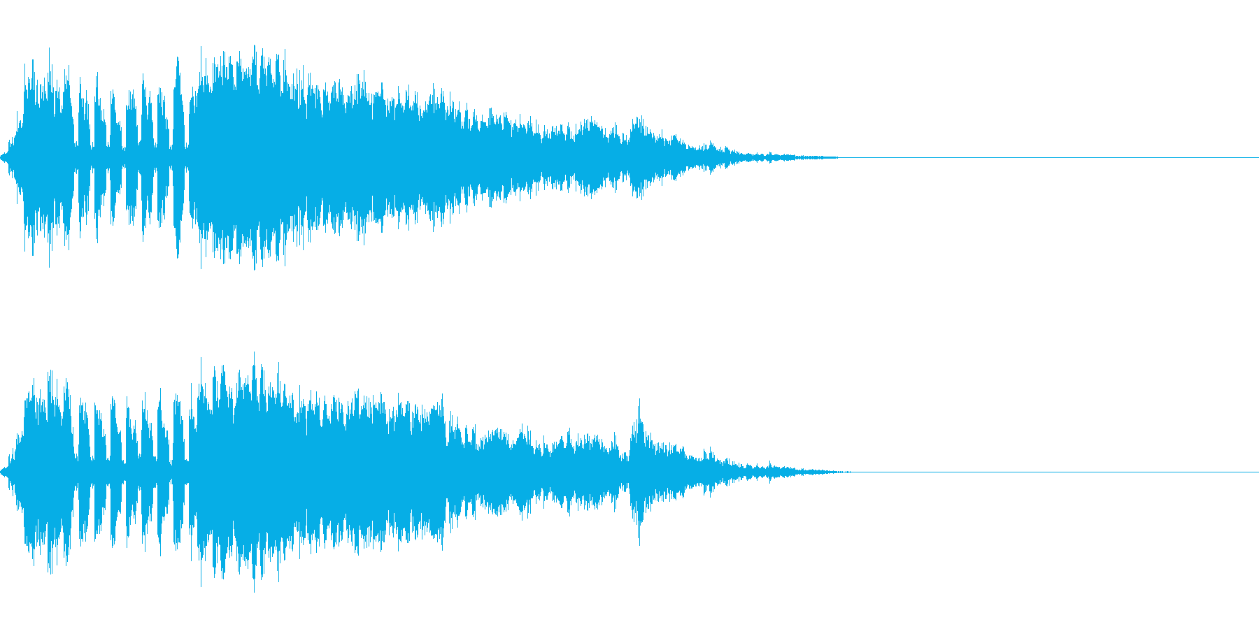 SFマシンが手前を横切って抜けていく音の再生済みの波形