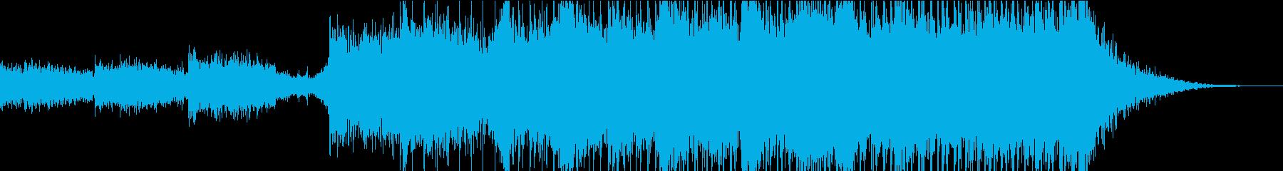 雷鳴が印象的で迫力と疾走感のある曲の再生済みの波形