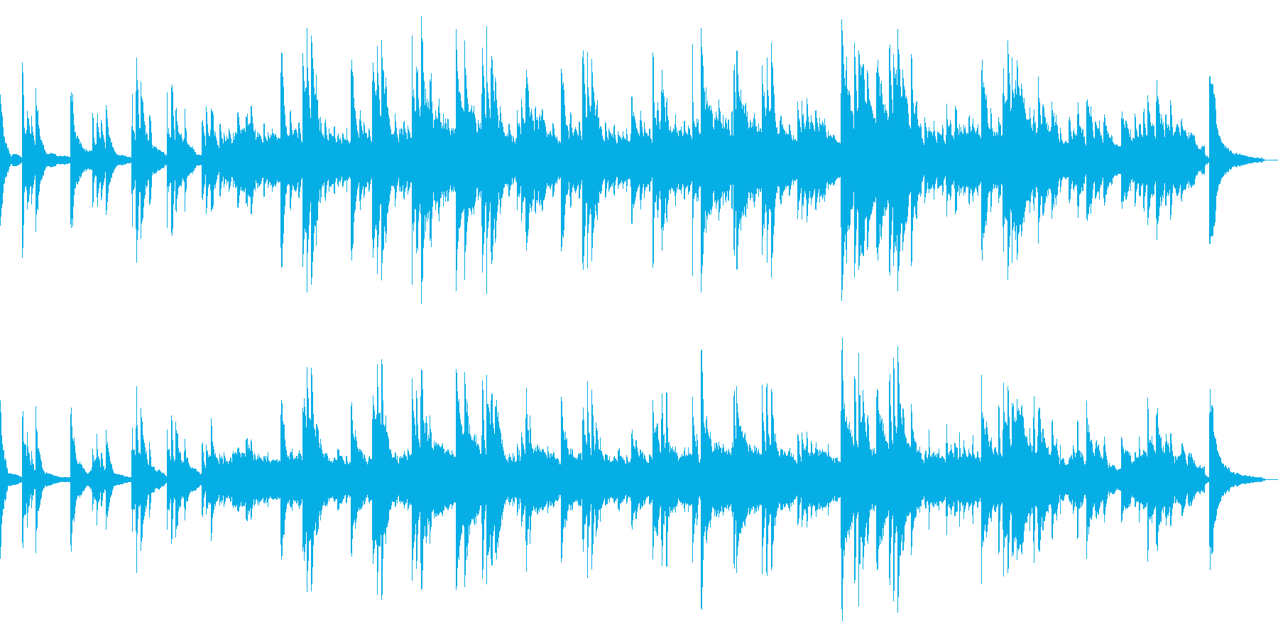 邪魔せず静かに彩るピアノソロバラードの再生済みの波形