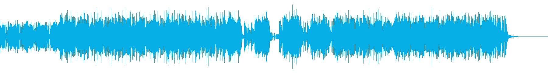激しいスラップベースとドラムのBGMの再生済みの波形