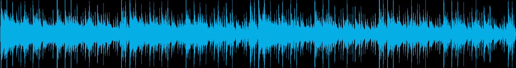 細かく刻まれたリズムをもとにした楽曲で…の再生済みの波形