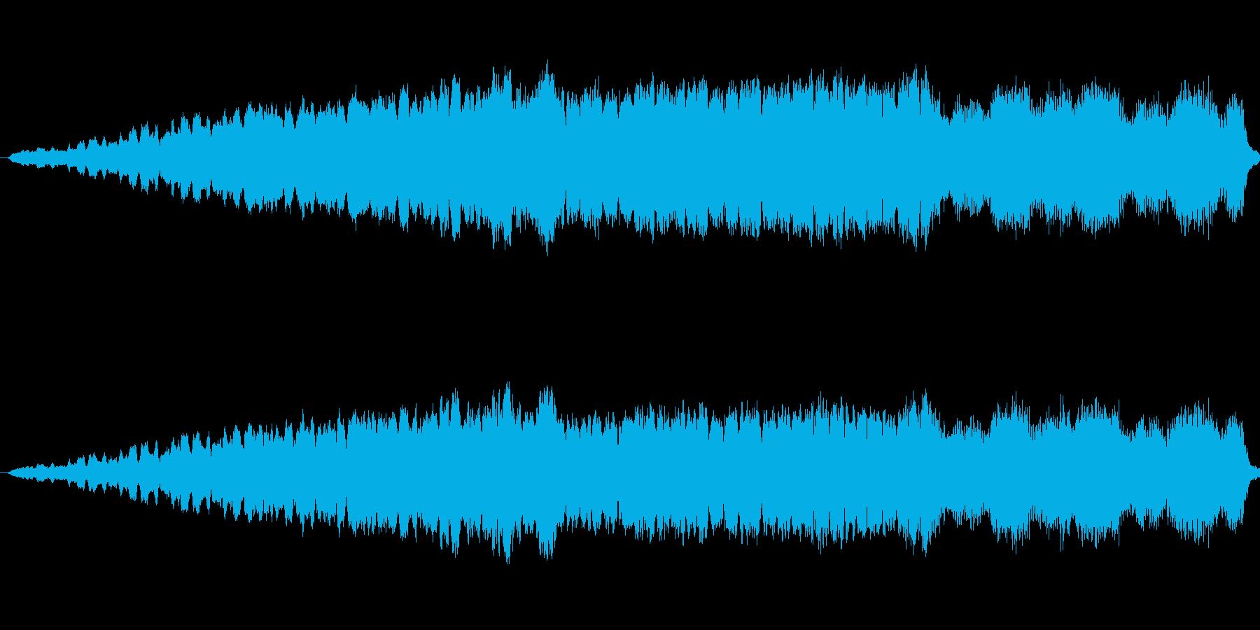 ゆっくりと上がっていく音量による不安感の再生済みの波形