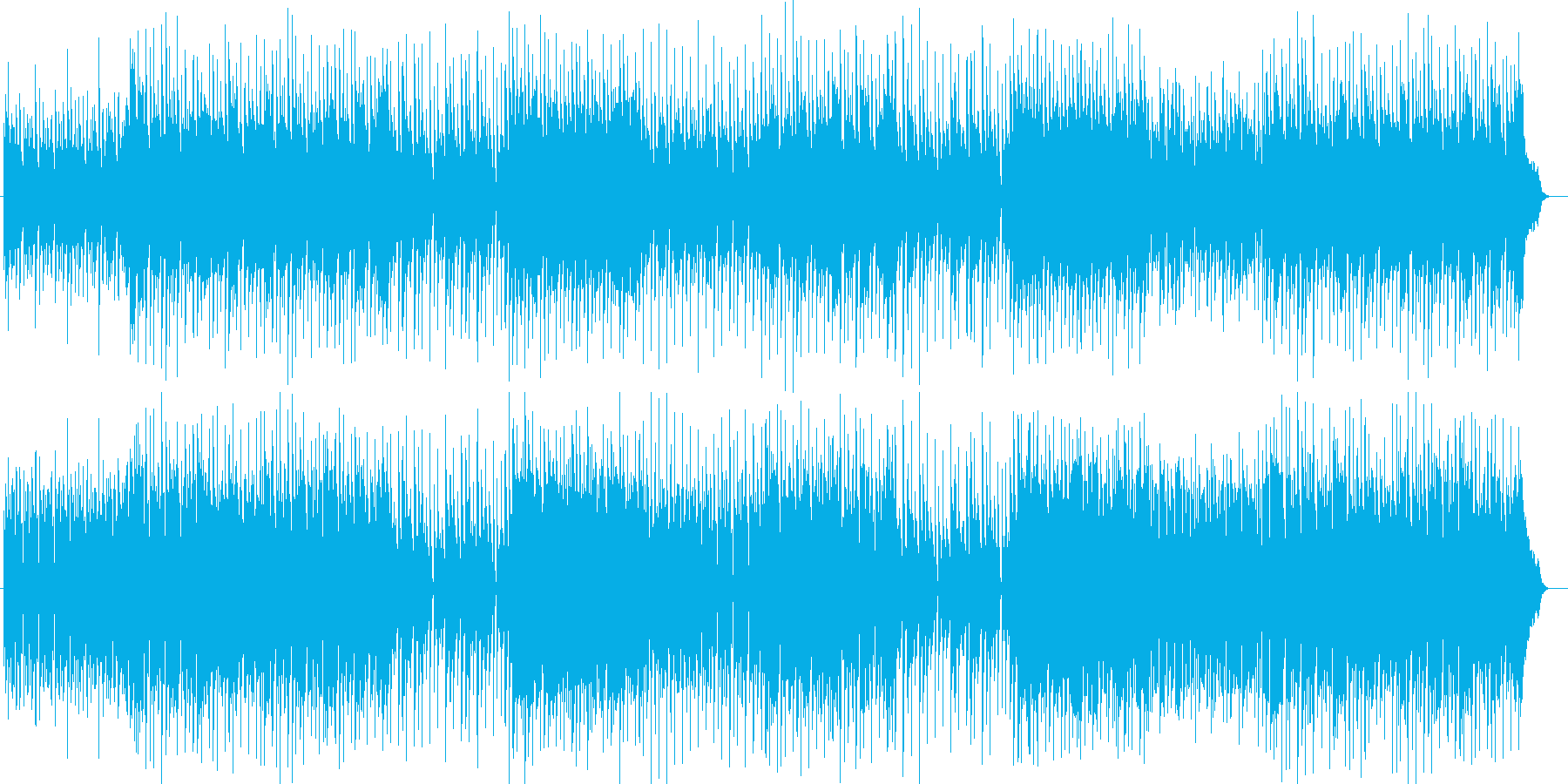 ポップでファンシーなシンセサイザー曲の再生済みの波形