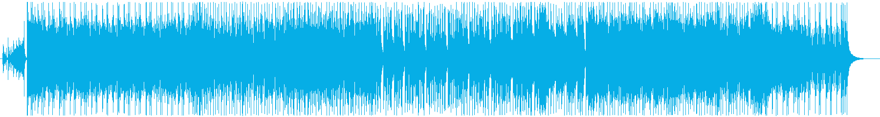 攻撃的なドラムとストリングスの劇伴系楽曲の再生済みの波形