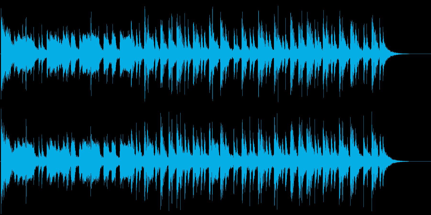 太鼓と笛と三味線による祭り囃子風な曲の再生済みの波形