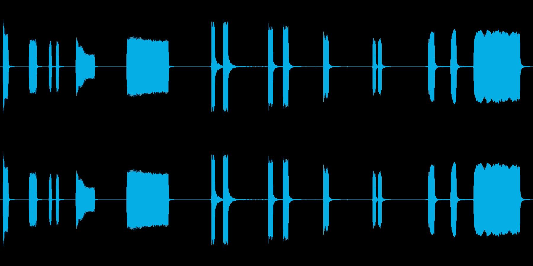 車、ホーン、信号、3つのバージョン...の再生済みの波形