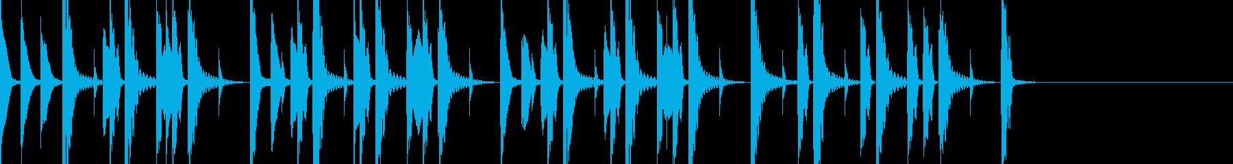 木のハンマーのような音を使ったジングルの再生済みの波形