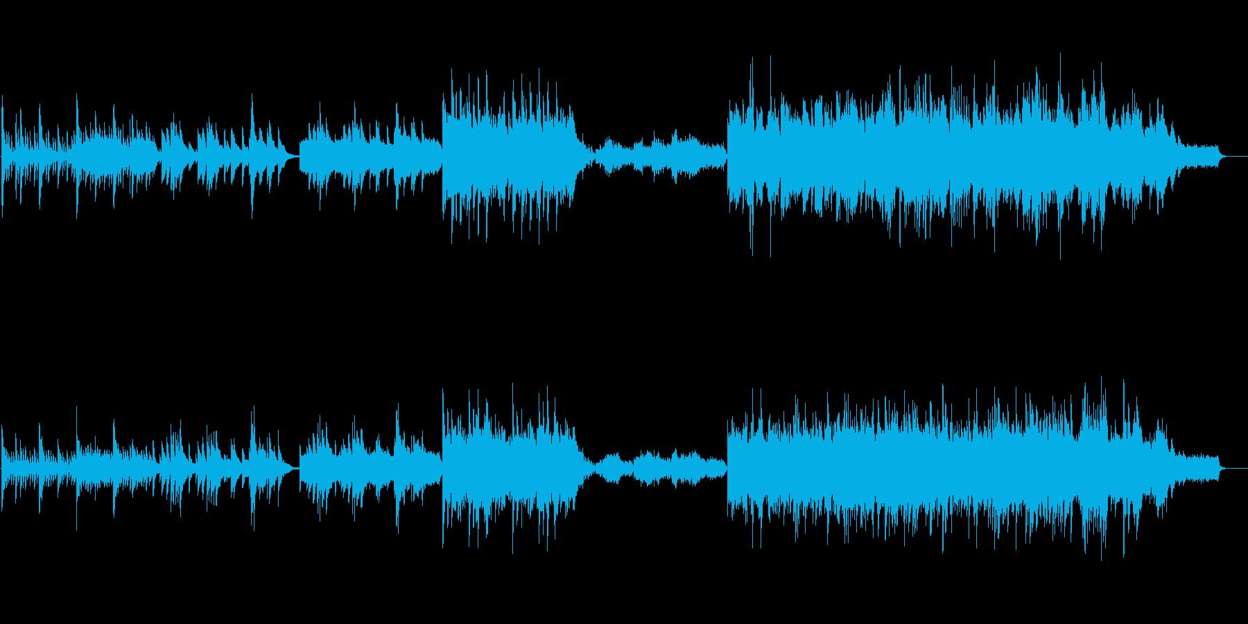 感動シーンに流れるピアノ、ストリングス曲の再生済みの波形