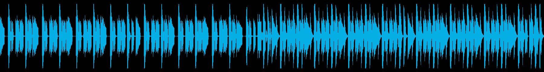 ドラムとベースのシンプルなBGMの再生済みの波形