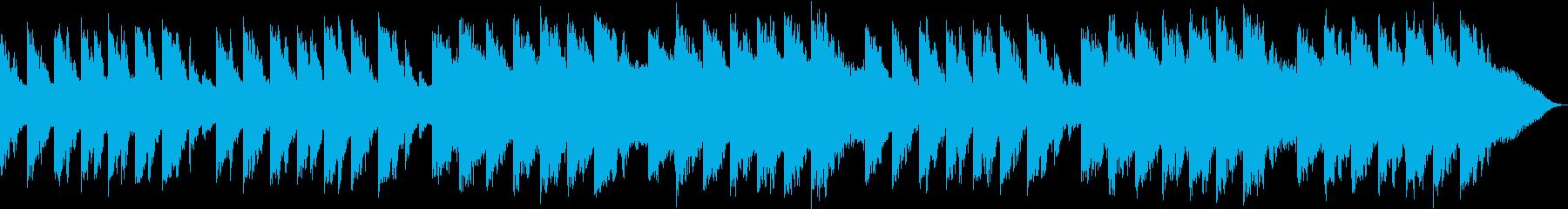 優しい音楽と滝の滴る音の再生済みの波形