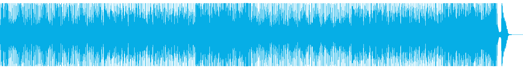 ブラスセクションとドラム中心の元気な曲の再生済みの波形