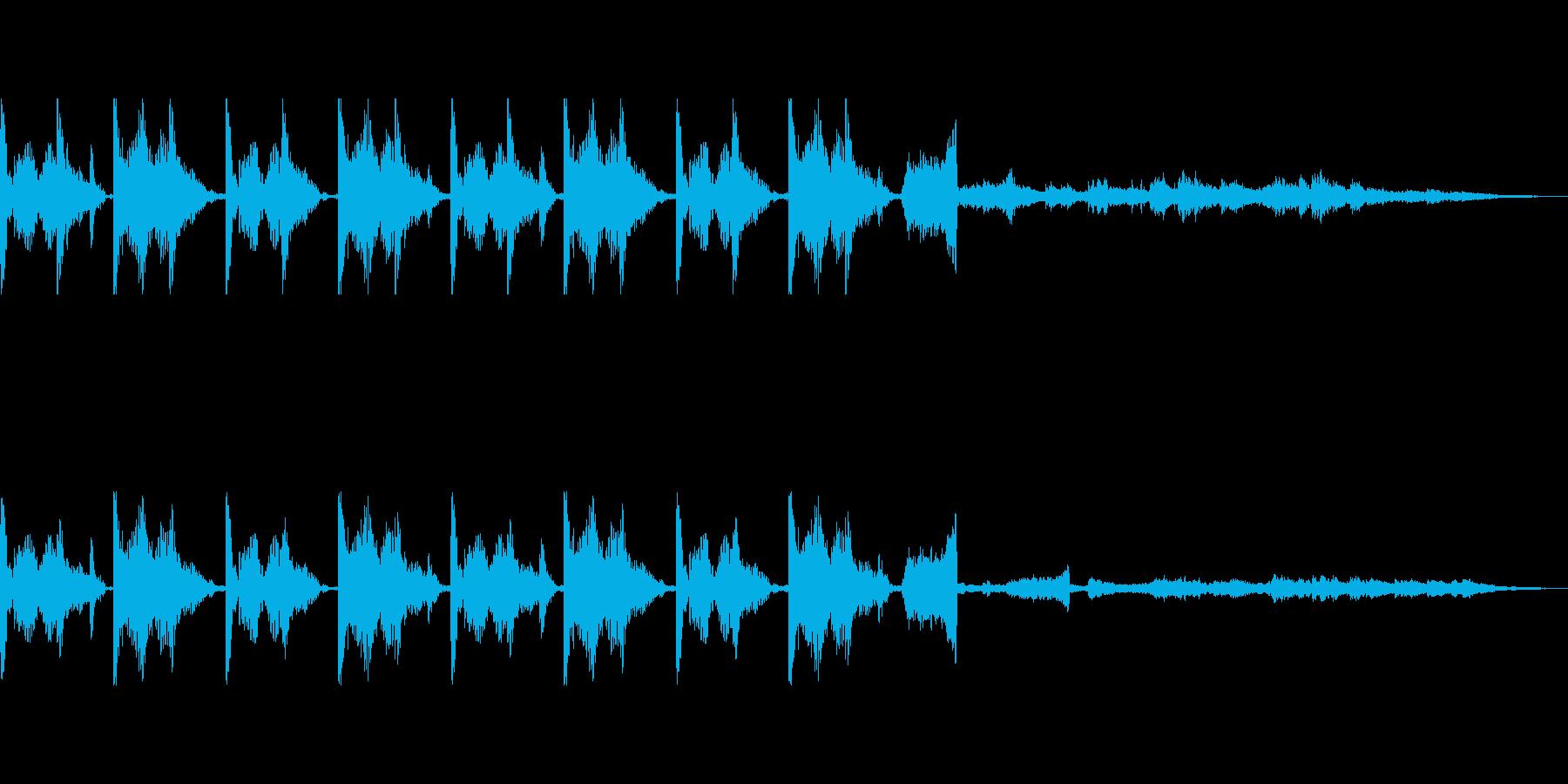 四つ打ちドラムにキラキラ音の再生済みの波形