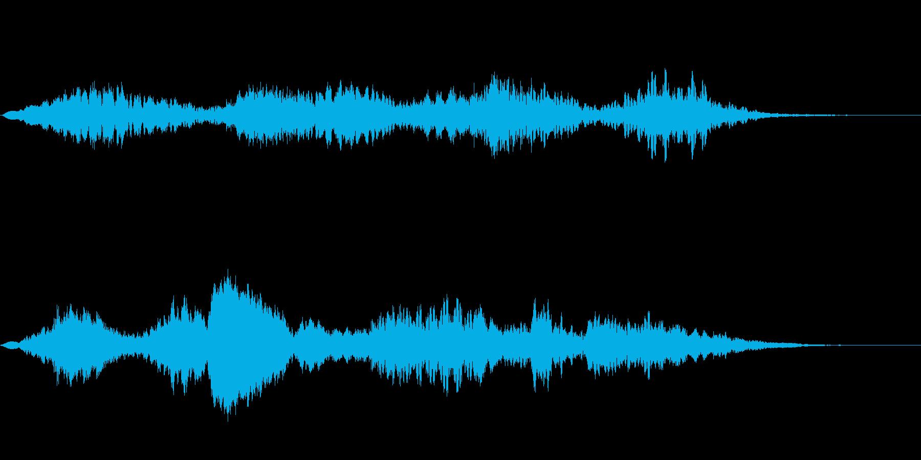 ホラーの効果音、不安、不協和音の再生済みの波形