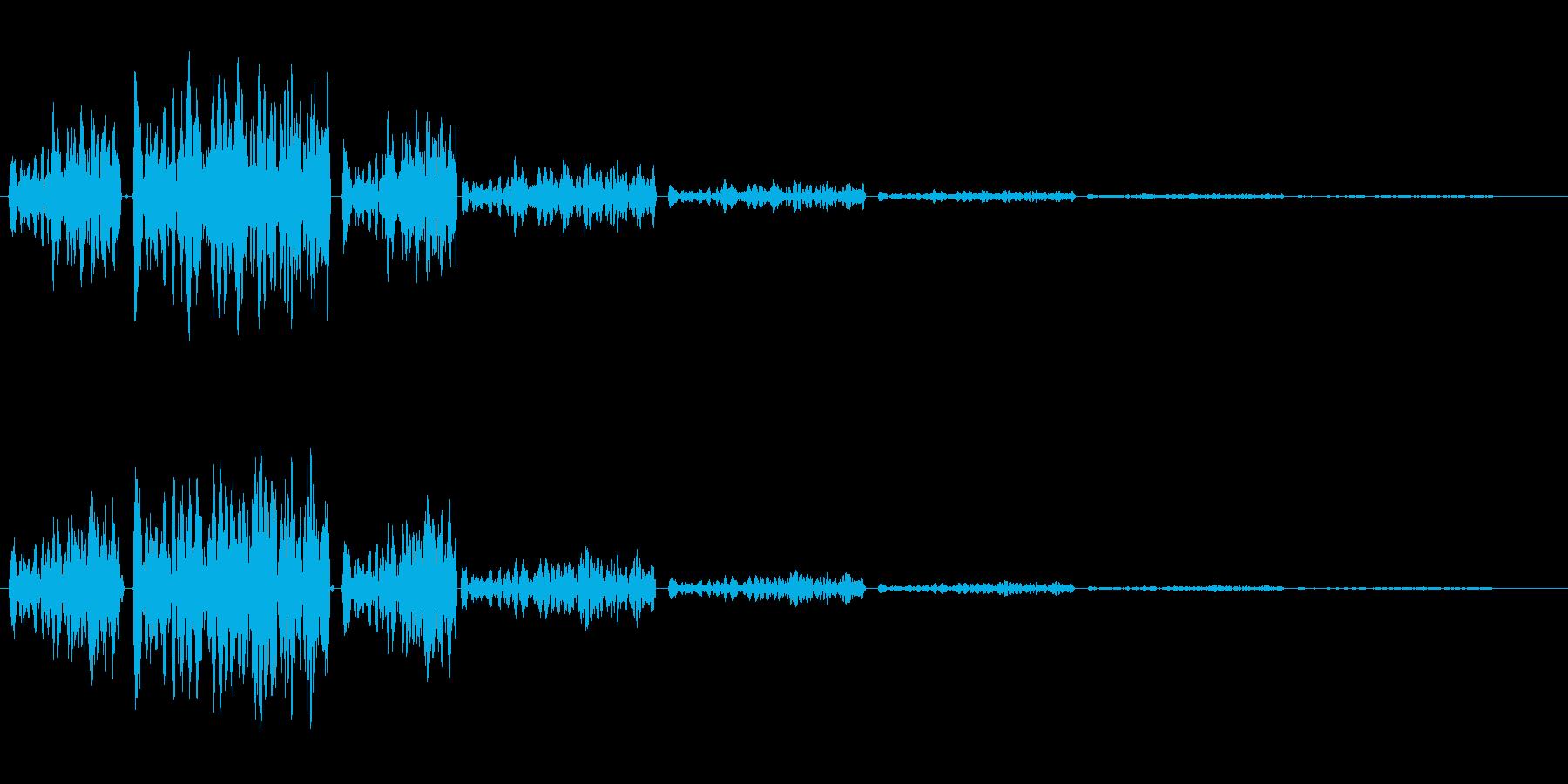バネが弾むようなインパクトのある起動音の再生済みの波形