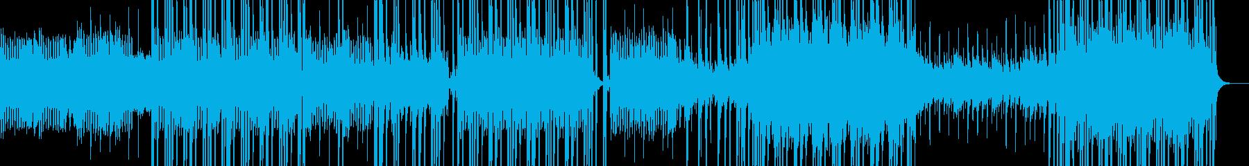 高音でドラムキックのシンセサイザーの曲の再生済みの波形