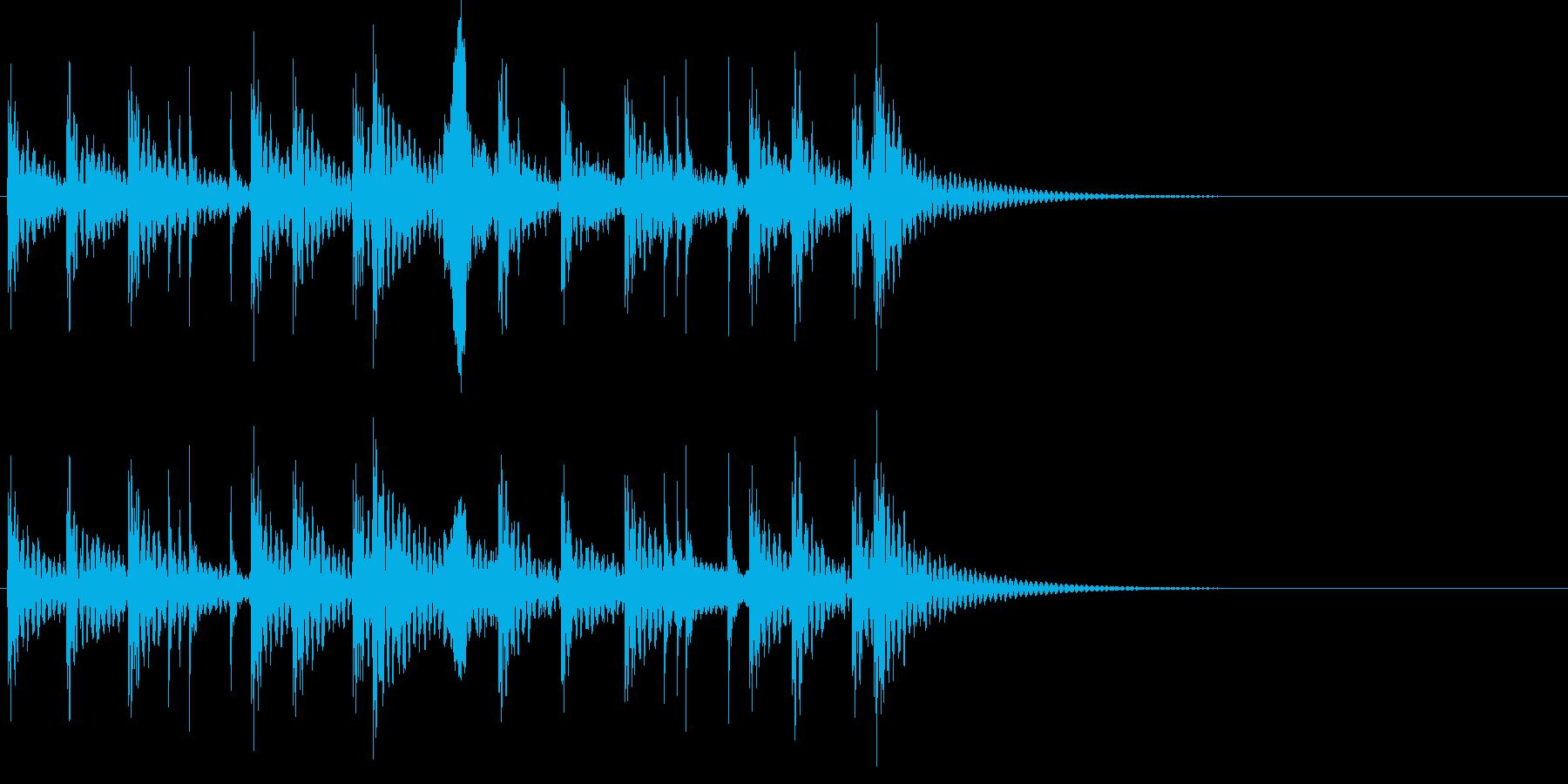 祭り太鼓の定番リズム+掛け声(低音)の再生済みの波形