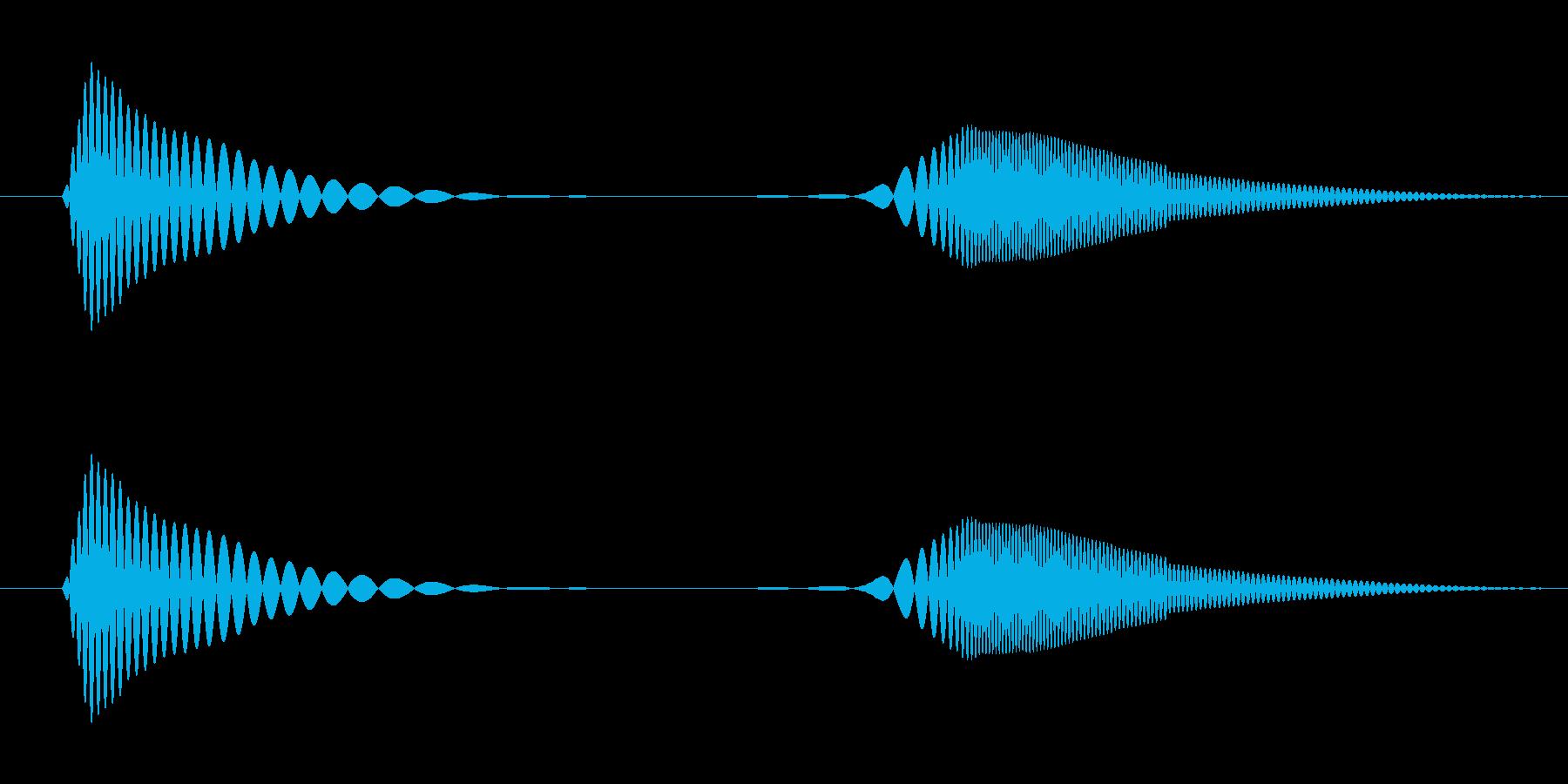 肉球のようなやわらかいスタンプ音の再生済みの波形