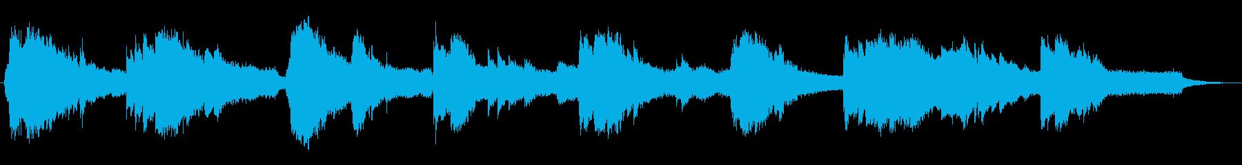 薄明かりの雰囲気のピアノとシンセサイザーの再生済みの波形
