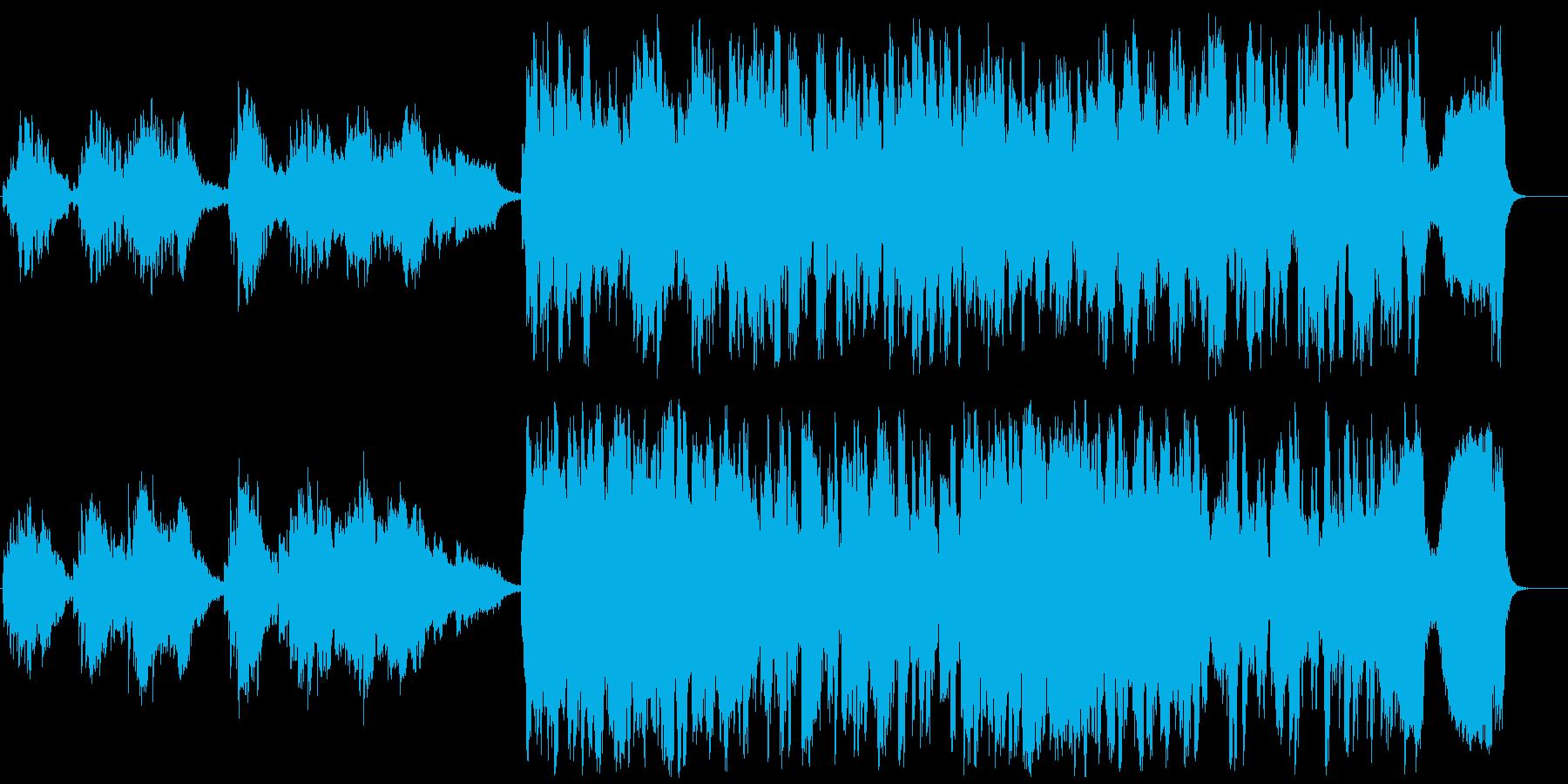 静かなムードから戦闘をイメージした音楽への再生済みの波形