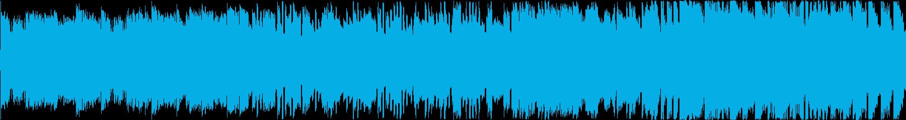 ファミコン風の軽快、アップテンポなBGMの再生済みの波形