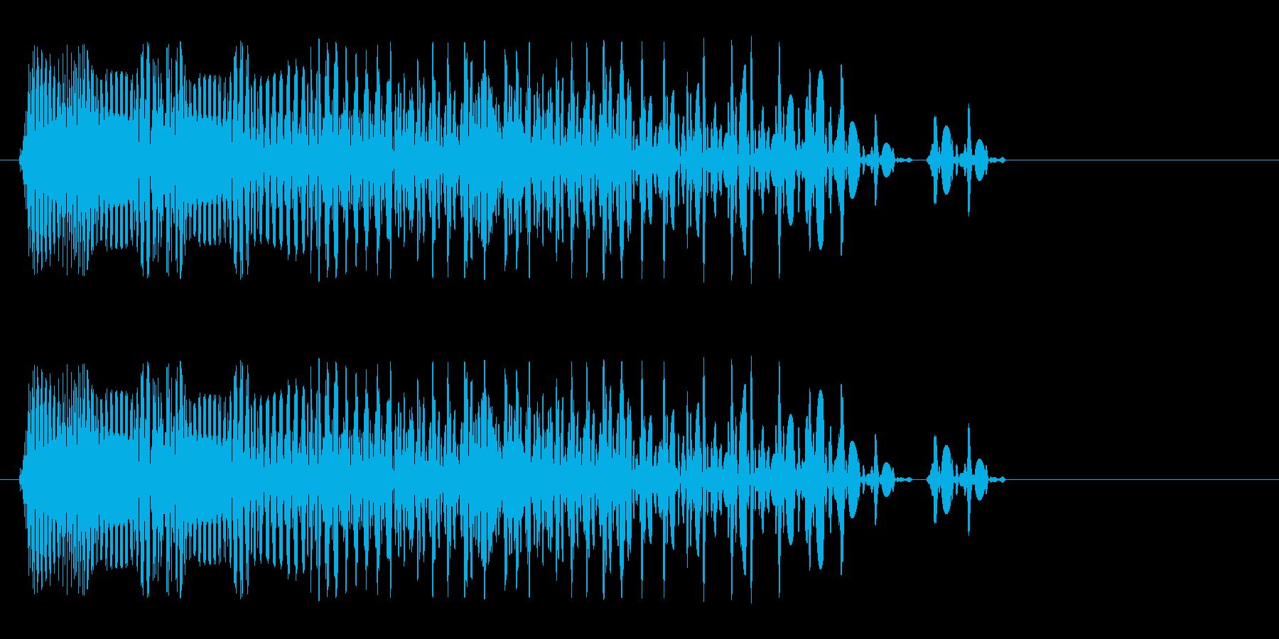 強い響きの急に止まる音の再生済みの波形