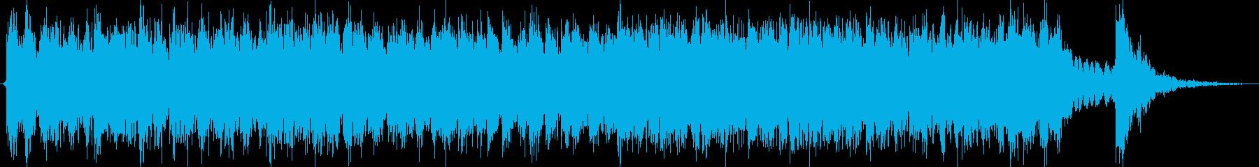 太鼓が激しい約三十秒の和風曲の再生済みの波形