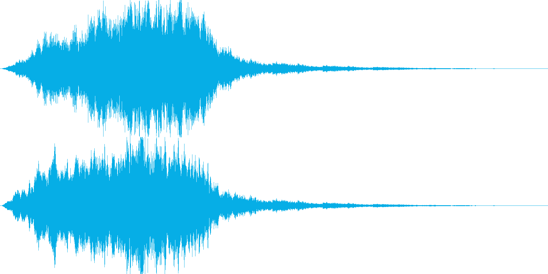 ふわふわ、シャラララと広がるような音の再生済みの波形