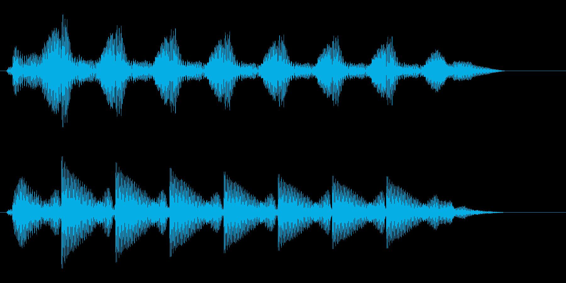 タタタタタタという文字の打ち込み音の再生済みの波形