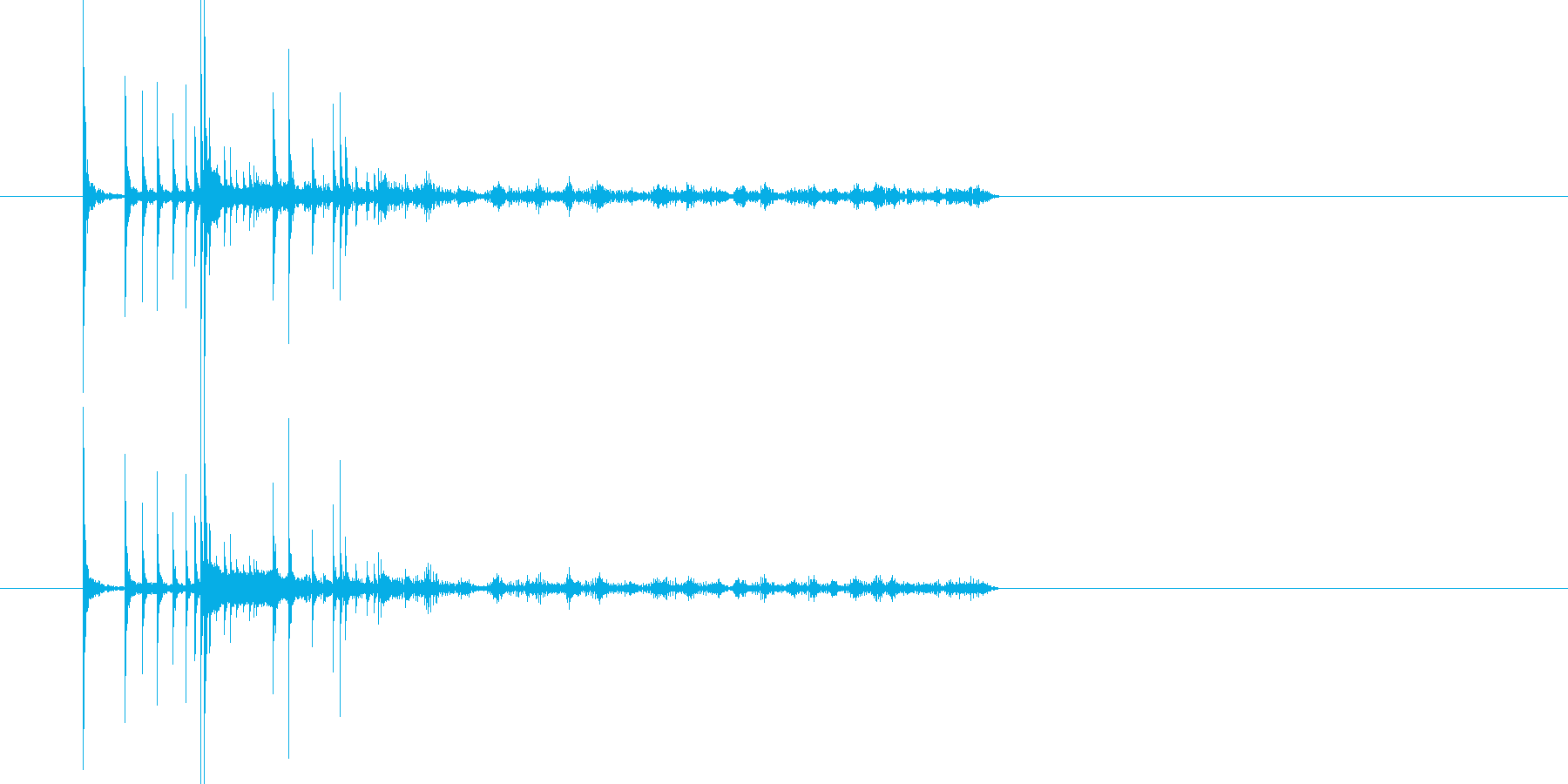 2つのコインがそれぞれに回って転がる音の再生済みの波形