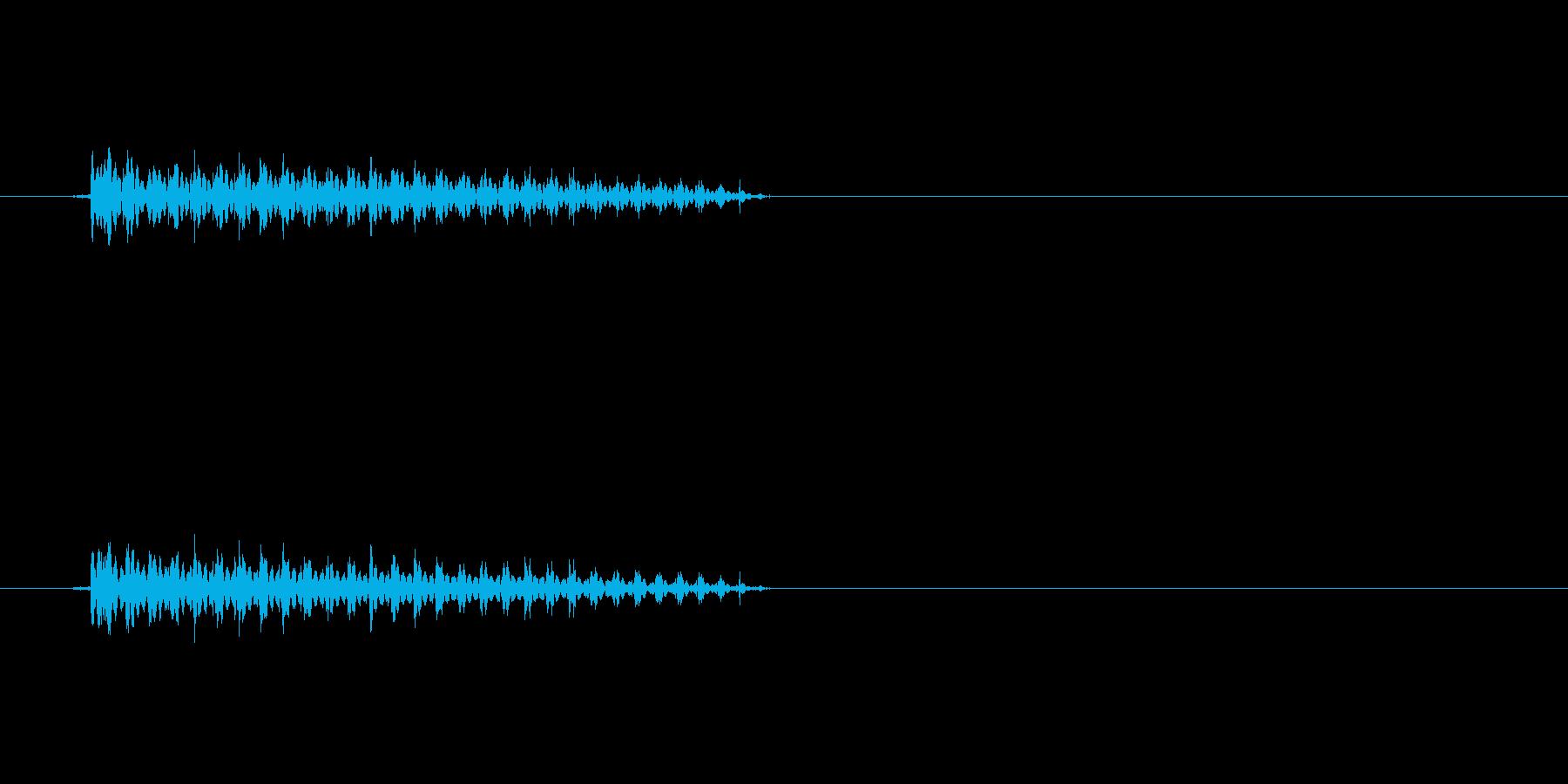 「ぶぅ〜」という短いおならの効果音です。の再生済みの波形